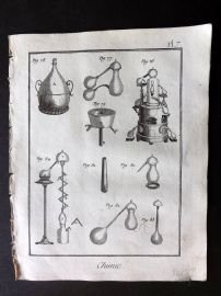 Diderot 1780's Antique Print. Chimie 07 Chemistry